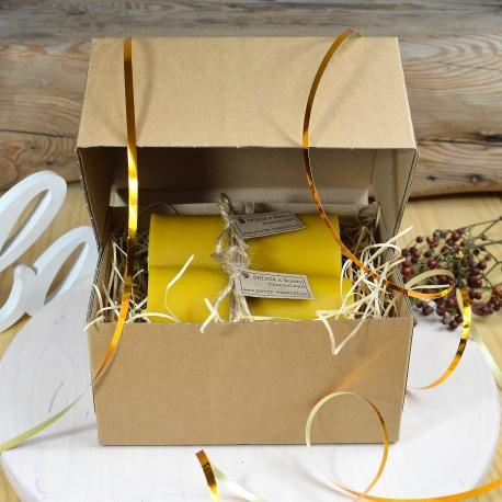 Świeca pszczela w pudełku prezent