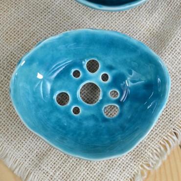 Ceramiczna mydelniczka turkusowa Dotyk Kreacji
