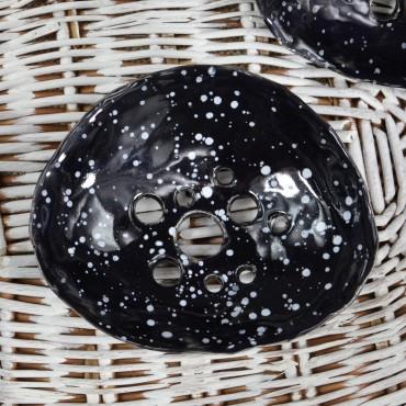 Mydelniczka czarna w białe kropki Dotyk Kreacji